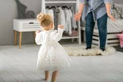 Mom and daughter are at home in the room, Mother`s Day.  Stock Photography