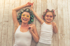 Mom and daughter at home Royalty Free Stock Image