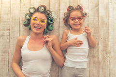 Mom and daughter at home Royalty Free Stock Photography