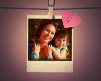 Mom and daughter instant photo. Stock Images