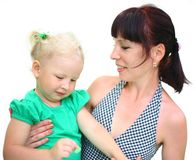 Mom and daughter isolated Royalty Free Stock Photography