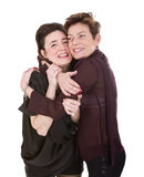 Mom and daughter love embrace Stock Photos