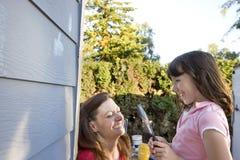 Mom and Daughter Painting - Horizontal Stock Photos
