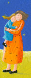 Mom and daughter in the park. Acrylic illustration of Mom and daughter Royalty Free Stock Image