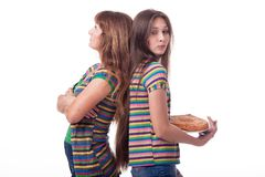 Mom and daughter with pie, cake. stock photos