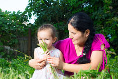Mom and daughter playing in the field, sitting on the grass. Royalty Free Stock Images