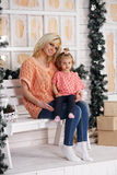 Mom and daughter on the porch Royalty Free Stock Photo