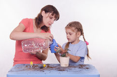 Mom and daughter poured water into a watering can flowers Royalty Free Stock Photos