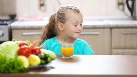 Mom daughter pours juice stock video footage