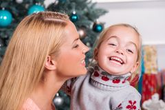 Mom and daughter preparing for Christmas Royalty Free Stock Photos