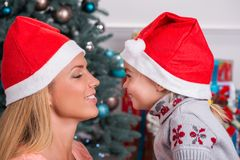 Mom and daughter preparing for Christmas Royalty Free Stock Photography