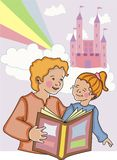 Mom and daughter reading. Royalty Free Stock Photo