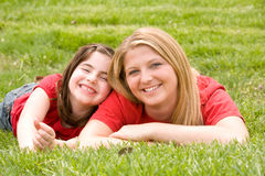 Mom and Daughter Smiling Stock Images