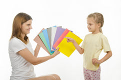 Mom and daughter teach color Stock Photo
