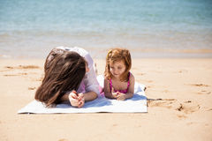 Mom and daughter on vacation Stock Photos