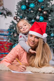 Mom and daughter waiting for Christmas Royalty Free Stock Images