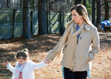 Mom and daughter walk Royalty Free Stock Photo