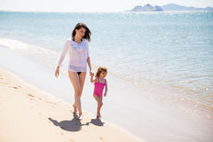 Mom and daughter walking together Royalty Free Stock Images