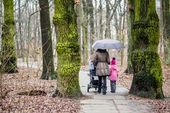Mom and daughter   walking together with stroller Stock Photography