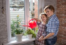 Mom and daughter watering flowers in the apartment royalty free stock image