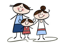 Mom and daughters. Colorful cartoon (doodle) illustration of a happy smiling mother with her two daughters Royalty Free Stock Photo