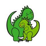 Mom Dinosaur hugging Baby Dino, T-Rex, tyrannosaurus, dinosaur stock images