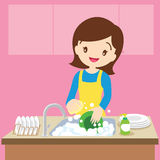 Mom Dish washing. Vector of a woman washing dishes in kitchen.Woman washing dishes royalty free illustration