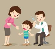 Mom and doctor inject boy. The child is afraid of injection. Caring for immunity. Healthcare.Scared Little Boy About to Have an Injection. Doctor take vaccine Stock Image