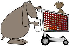 Mom Dog With A Shopping Cart Stock Image