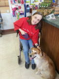 Mom dozer on Walker with Piper. My mom at kennel with Piper Royalty Free Stock Photography