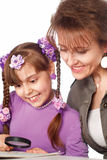 Mom draws with daughter Royalty Free Stock Photography