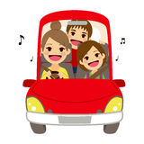 Mom Driving Kids School Singing Royalty Free Stock Image