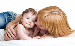 Mom embraces her baby. Boy Royalty Free Stock Images