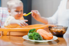 Mom feeds the baby soup. Healthy and natural baby food Royalty Free Stock Images
