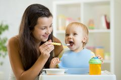 Mother feeds the baby from the spoon stock image