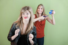 Mom Gestures To Destroy Credit Card Stock Photography