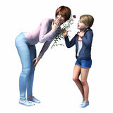 Mom getting flower from daughter. Mom getting flower from  daughter for Mothers Day,  birthday or just because Stock Photos