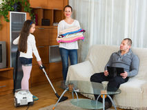 Mom and girl doing cleaning Royalty Free Stock Photo