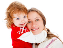 Mom and girl laughing Royalty Free Stock Photos