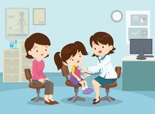 Mother took her girl to see the doctor. Mom and Girl to see Doctor sitting at the table in hospital, infirmary, clinic.healthcare concept.Character professional vector illustration