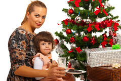 Mom and girl waiting Santa Stock Photography