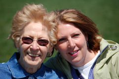 Mom and Gram at the Park. Two woman smiling together (close up Stock Image