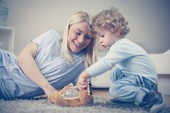 Mom have play with her little boy. Sending time together Royalty Free Stock Photo