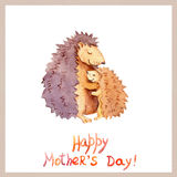 Mom hedgehog embrace her kid. Card for Mother`s day with animal family. Watercolor Stock Photo