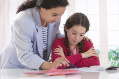 Mom helping her daughter do homework Royalty Free Stock Photography