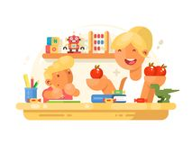 Mom helps son do homework. Mom helps small son do homework. Young mother and boy. Vector illustration Stock Photos