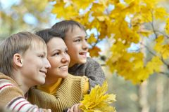 Mom and her children on autumn Stock Photo