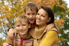 Mom and her children Stock Photo