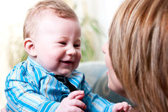 Mom and her cute, baby boy.  Royalty Free Stock Photo