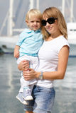 Mom and her cute little blond son Royalty Free Stock Image